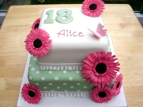 2 Tier 18th Birthday Cake With Sugar Gerberas