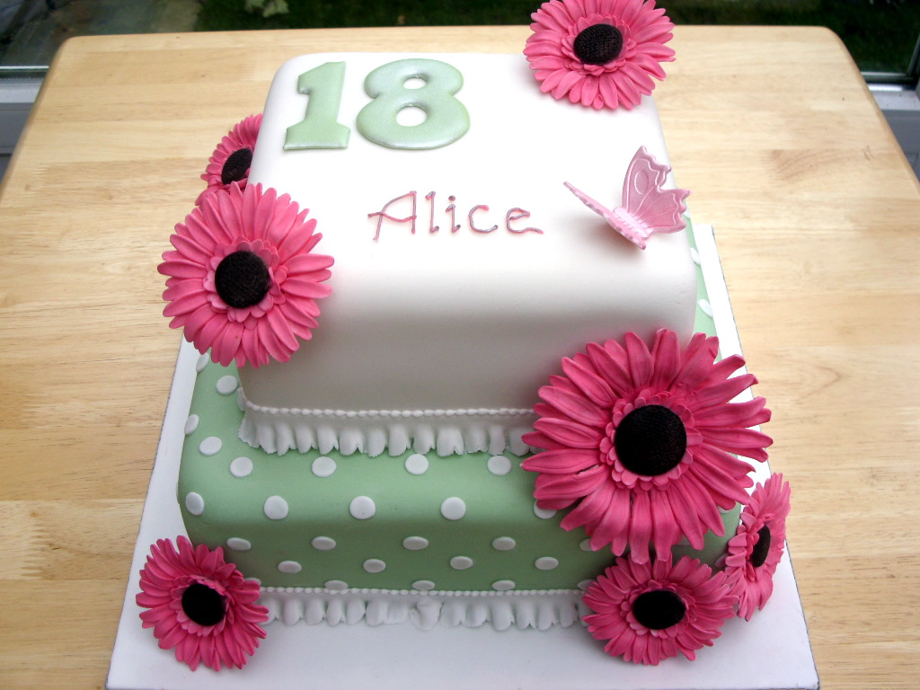 2 Tier 18th Birthday Cake With Sugar Gerberas Susies Cakes