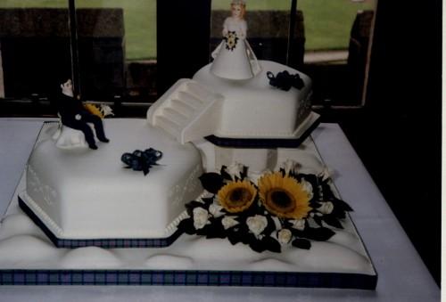 2 Tier Hexagonal Off Set Scottish Inspired Wedding Cake