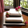 2 Tier Square Wedding Cake With Fresh Flowers thumbnail