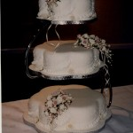 3 Tier Petal Wedding Cake With Sugar Flowers