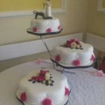 3 Tier Wedding Cake With Sugar Flower Sprays And Personalised Topper