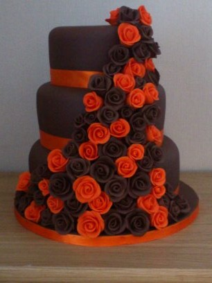 3 Tier Chocolate And Orange Rose Cake