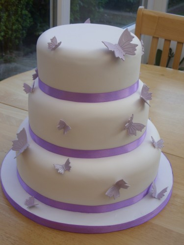 3 Tier Round Wedding Cake With Butterflies