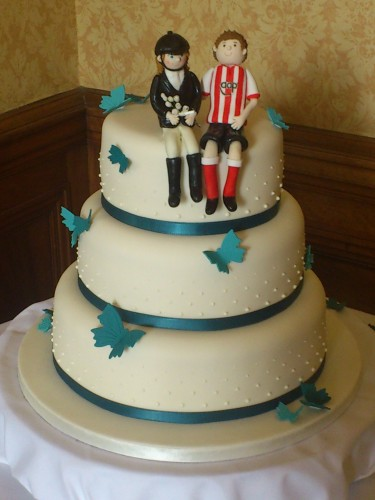 3 Tier Wedding Cake With Butterflies And Personalised Topper