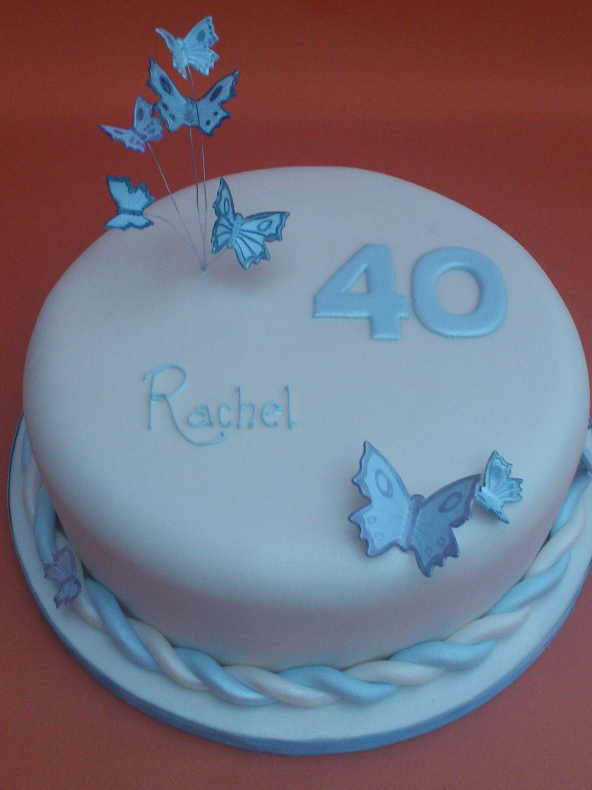 40th Birthday Cake With Blue Butterflies Susie S Cakes
