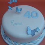 40th birthday cake with blue butterflies