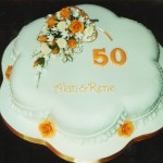 Golden Wedding Anniverary Cake With Sugar Flower spray