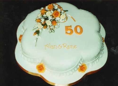 Golden Wedding Anniverary Cake With Sugar Flower spray