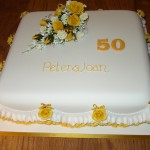 Golden Wedding Anniversary Cake With Rose Spray