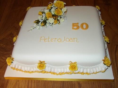 Golden Wedding Anniversary Cake With Rose Spray