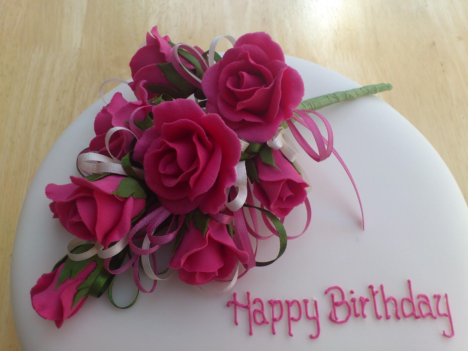 Cerise Pink Rose Spray Birthday Cake Susies Cakes