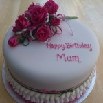 Cerise Pink Rose Spray Birthday Cake