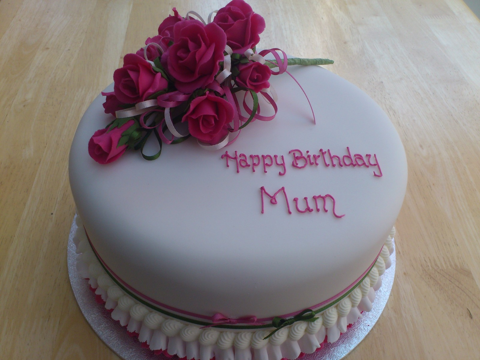 Cerise Pink Rose Spray Birthday Cake Susies Cakes