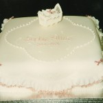 Square Christening Cake With A Cradle