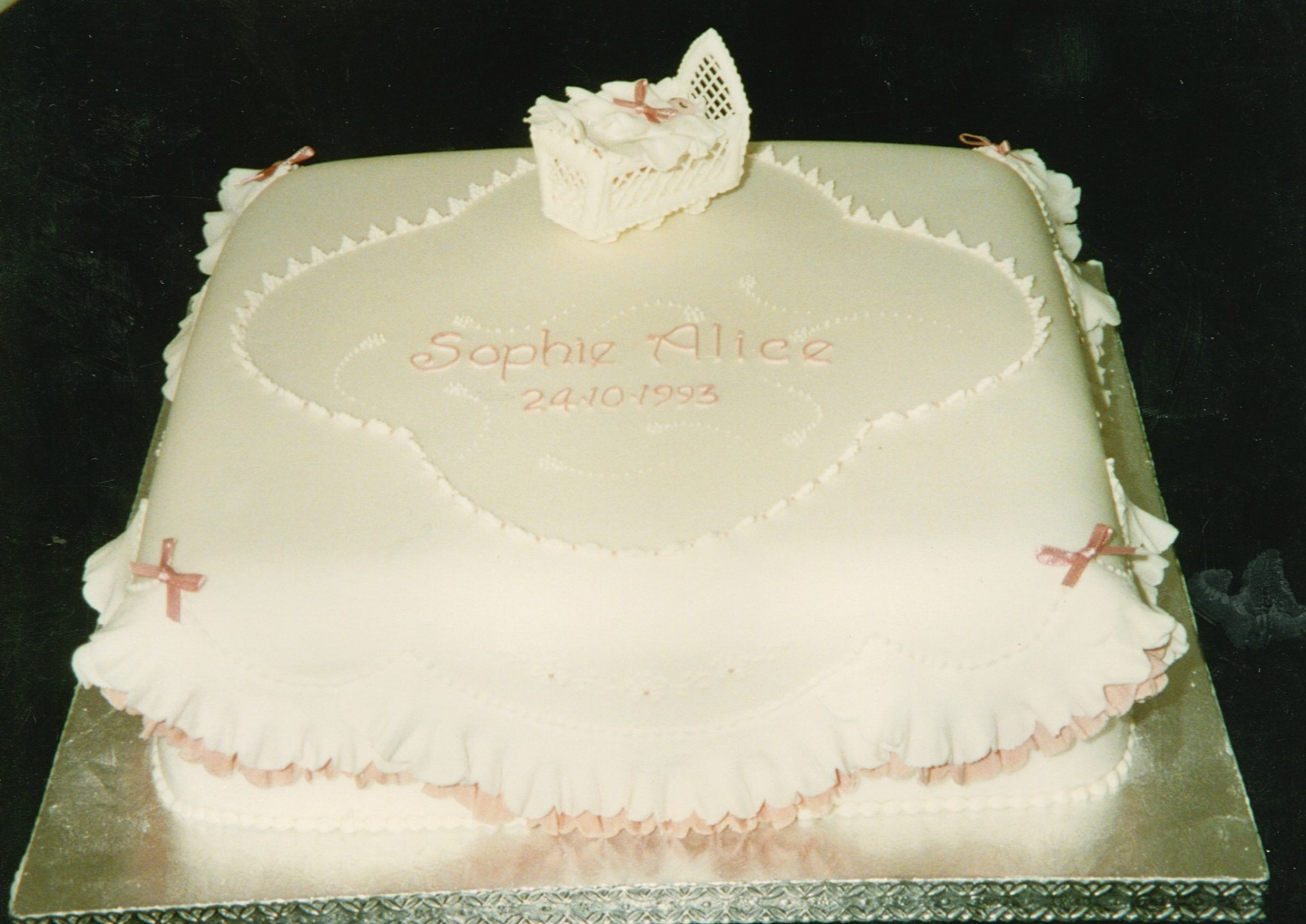 Square Christening Cake Images : Square Christening Cake With Cradle   Susie s Cakes