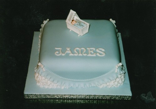 Blu Square Christening Cake with A Cradle
