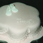 Lace Bootees Christening Cake
