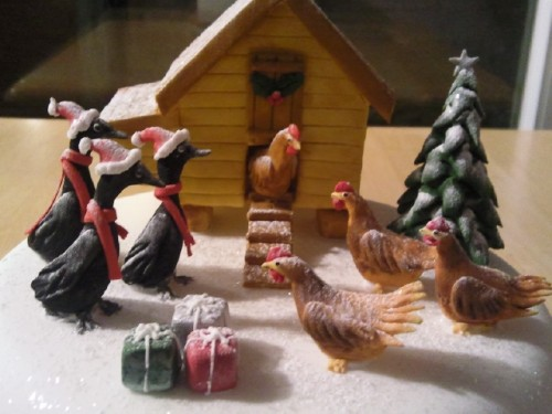 Novelty Hen House Christmas Scene Cake