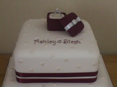 2 Tier Engagement Cake With Ring In Boxt