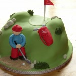 Novelty Golfer In Bunker Birthday Cake