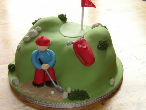 Novelty Golfer In Bunker Birthday Cake