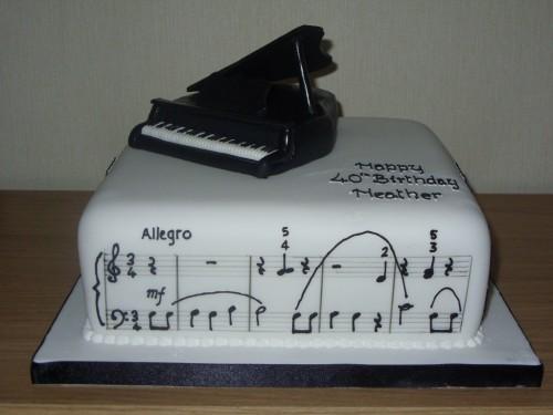 Grand Piano With Music Birthday Cake