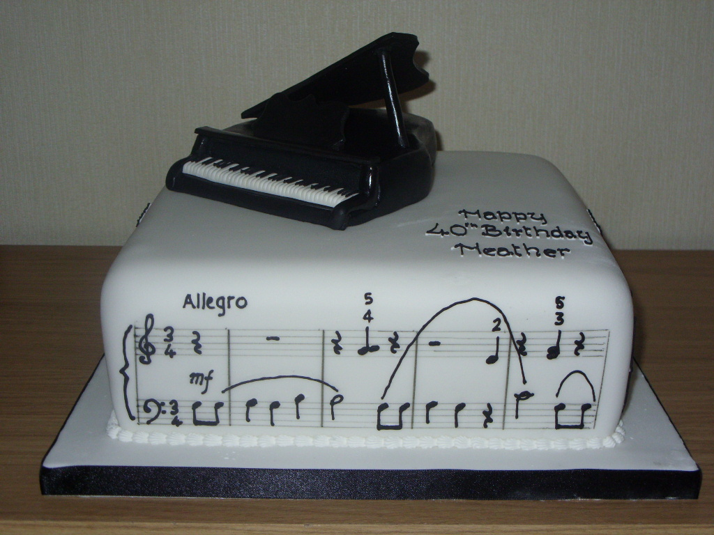 Groovy Grand Piano With Music Birthday Cake Susies Cakes Personalised Birthday Cards Bromeletsinfo