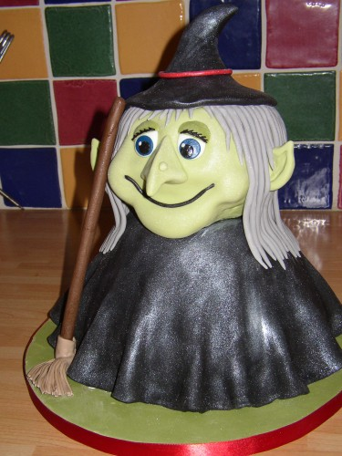 Halloween Witch With Broom Novelty Cake