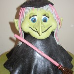 Halloween Witch With Pink Broom Novelty Cake
