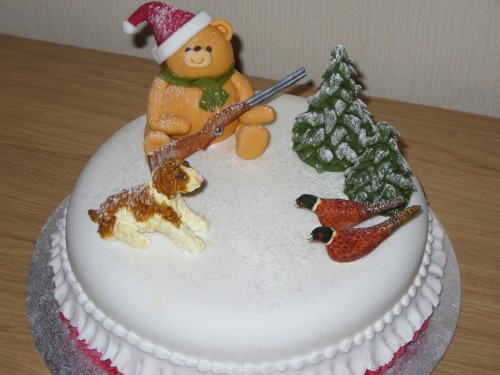 Hunting Bear Novelty Christmas Cake