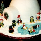 Skating Penguins With Igloo Christmas Cake