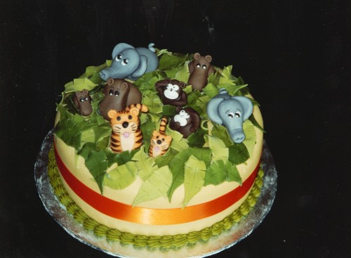 Jungle Animal Themed Birthday Cake