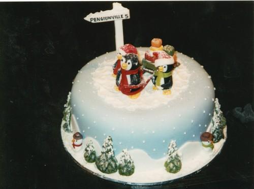 Novelty Penguin Christmas Cake