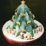 Outdoor Christmas Cake Scene