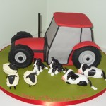 Red Tractor With Farmyard Animals Birthday cake