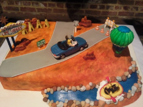 Route 66 Road Trip Inspired Wedding Cake