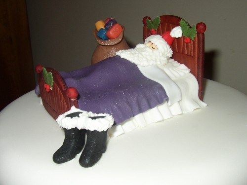 Sleeping Santa Novelty Christmas Cake