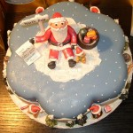 Petal Shape Novelty Christmas Cake With Santa