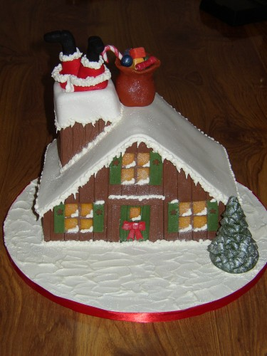 Santa Stuck In The Chimney Christmas Cake