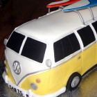 Split Screen Camper Van With Surf Boards novelty Cake