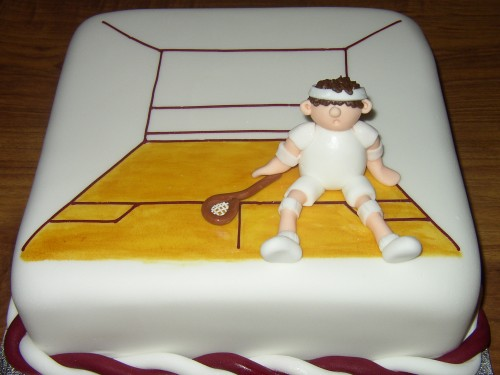Squash Court And Player Novelty Birthday Cake