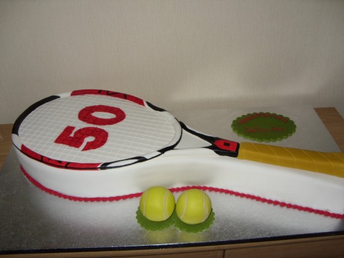 Tennis Racquet And Balls Birthday Cake