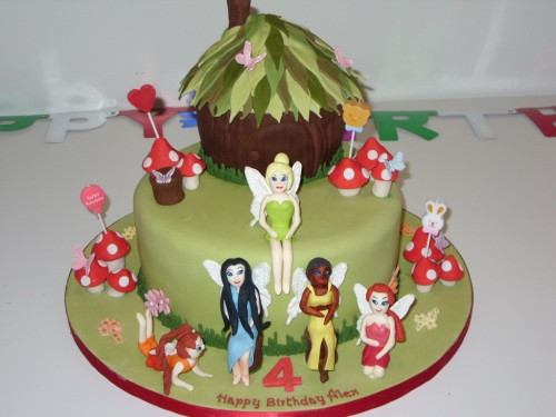 Tinkerbell And Fairy Friends Novelty Birthday Cake
