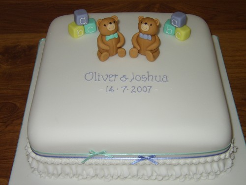 Christening Cake For Twins with Teddy Bears