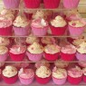 Pink And White wedding Cup Cakes With Bear Cake Topper thumbnail