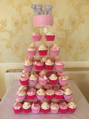 Pink And ~White Wedding Cup Cakes With Bear Cake Topper