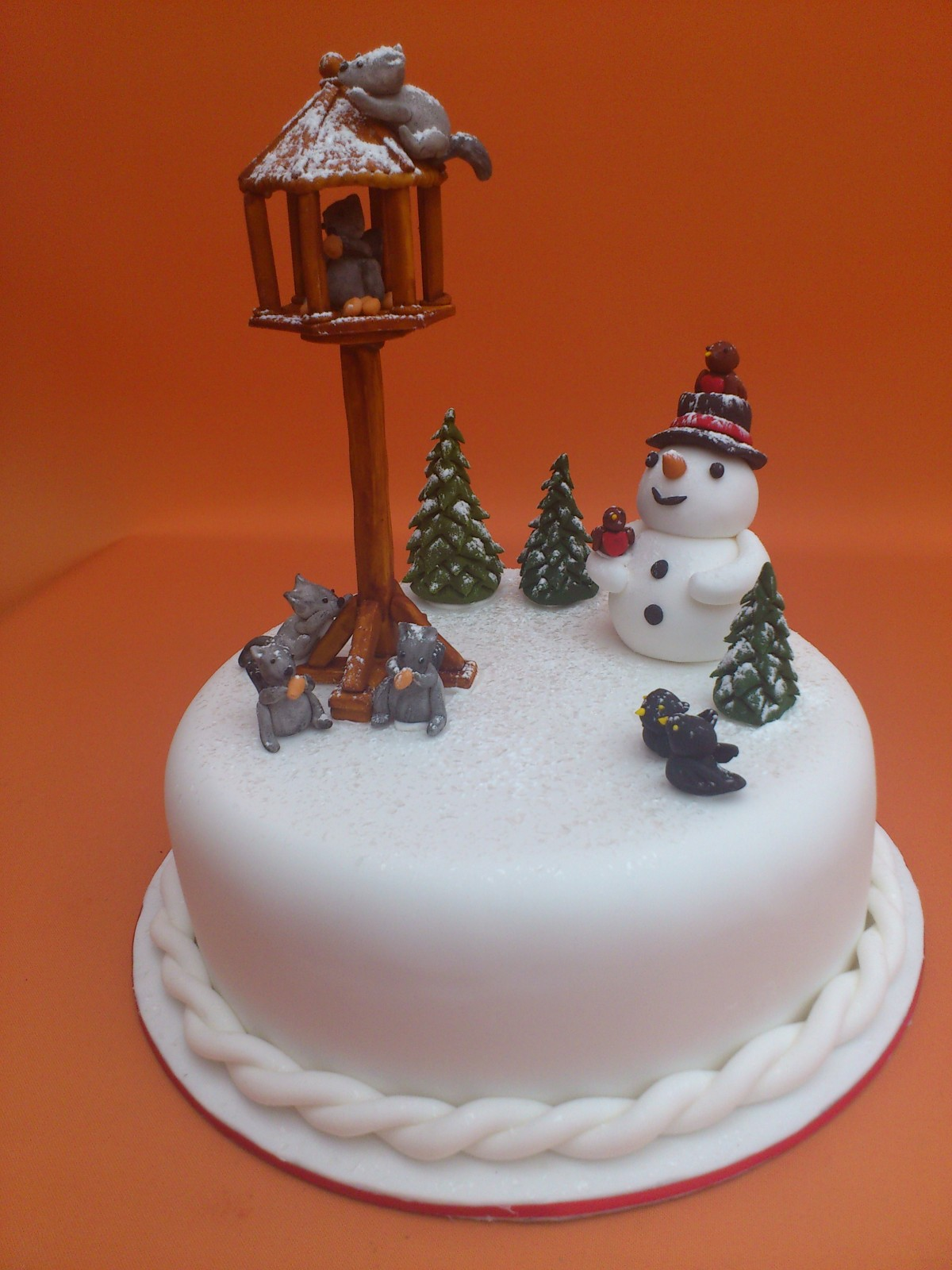 Novelty Christmas Cake Images : Novelty Christmas Cake With Bird Table Squirrels and ...