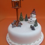 Novelty Christmas Cake With Bird Table Squirrels And Snowman