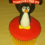 Personalised Cup Cake Penguin Supporting Man Utd